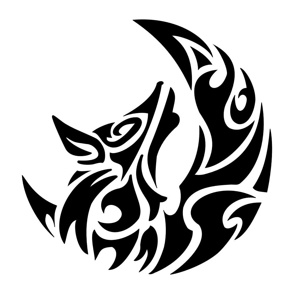 Wolf howling stencil.